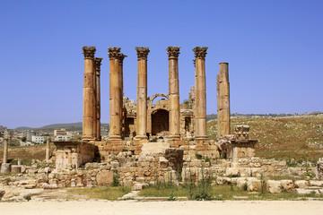 Ancient Roman temple ruins in Jerash, Jordan
