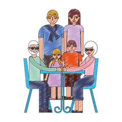 grandparents sitting in chair and family together