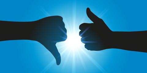 main - pouce - opinion - like - pour ou contre - concept - différence - opposition - symbole - conflit