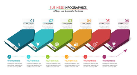 6 Steps of infographic design to success in business show in business data domino diagram. Infographic template for workflow in 6 options layout.