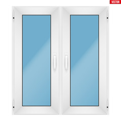 Metal plastic PVC window with two sash and two opening casement. Indoor view. Presentation of models and frame installation. White color. Sample Vector Illustration isolated on white background.