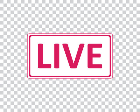 Live. Pink icon for social networks. Vector illustration.