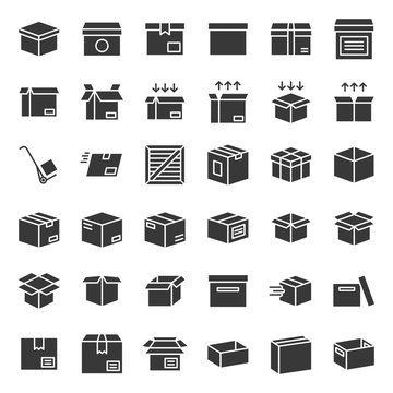 Box and parcel icon for business, pixel perfect for use as application or website, glyph icons set
