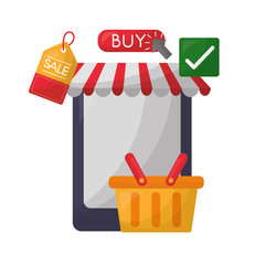 smartphone shopping basket tag price buy online