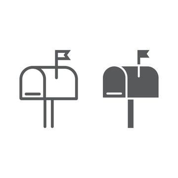 Mail box line and glyph icon, letter and post, mailbox sign, vector graphics, a linear pattern on a white background, eps 10.
