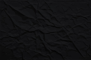 Dark wrinkled paper texture, abstract vector black background