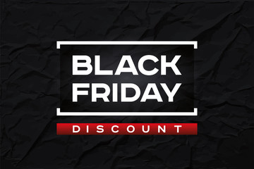 Black Friday Discount. Dark wrinkled paper texture, abstract black background. Red accent. Vector design form for you business selling projects