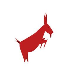 goat silhouette. red goat logo
