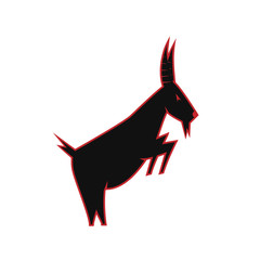 goat silhouette. black and red goat logo