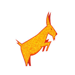 goat silhouette. golden and red goat logo