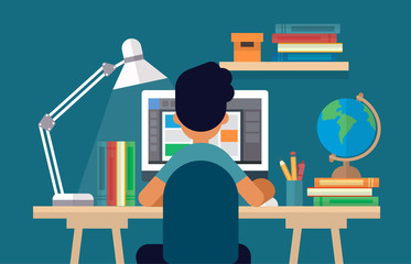 Student sitting at the desk, learning with computer. Concept illustration in flat style, online learning, education, office work, school or university