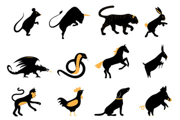 twelve chinese year lunar zodiac horoscope symbols