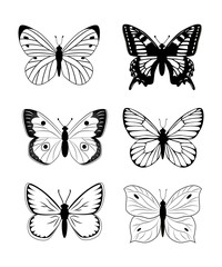 Butterfly  silhouette  icon set. Simple set of butterfly vector