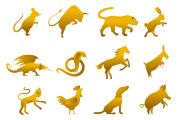 twelve golden chinese year lunar zodiac horoscope symbols