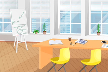 Shiny Office Room with Table and Flip Chart Poster