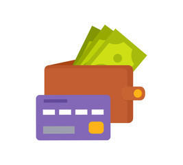 Wall Mural - Wallet with Money and Purple Credit Card Icons