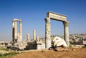 The fallen hand and the Temple of Hercules on the Amman citadel,  Jordan