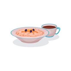 Oatmeal porridge with blueberries and cup of tea, traditional English breakfast vector Illustration on a white background