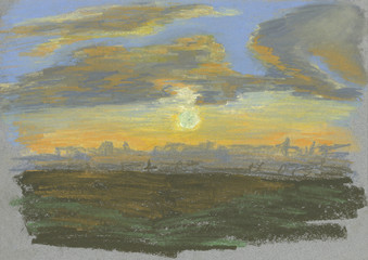 sunset, sky at sunset, sun shining through the clouds, pink, orange sky, beautiful sunset, city view at sunset, pastel drawing