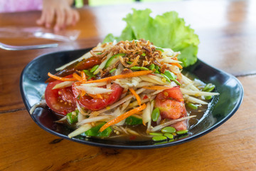 Thai papaya salad hot and spicy mixed from variety of vegetable