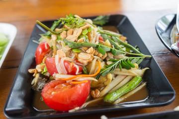 Thai papaya salad hot and spicy mixed from variety of vegetable