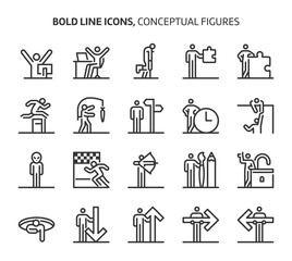 Conceptual figures, bold line icons