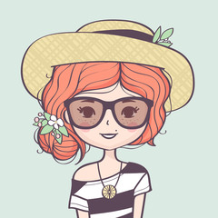 Beautiful cute summer girl portrait with straw hat. Fashion girl with hat, sunglasses and flowers. Vector illustration