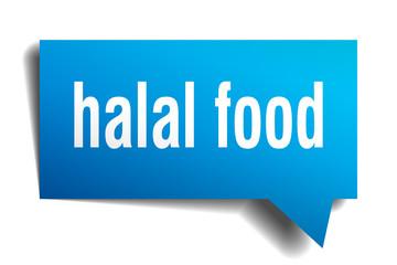 halal food blue 3d speech bubble