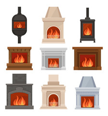 Fireplaces with fire set, stone and cast iron mantels vector Illustrations on a white background