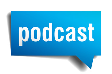podcast blue 3d speech bubble