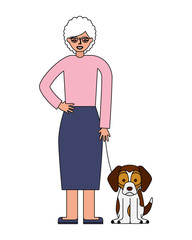 grandmother standing with her beagle dog