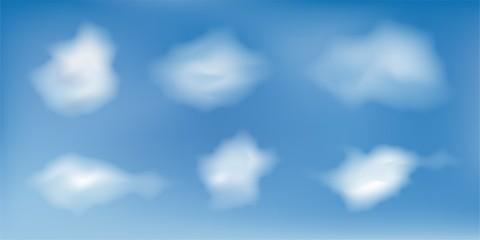 set of six clouds