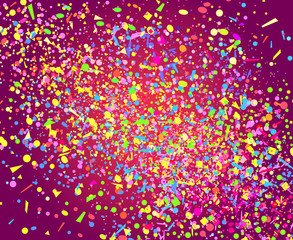 Colored confetti on isolation dark background. Geometric pattern with shine glitters. Texture for design. Print for banners, posters, flyers and textiles. Greeting cards