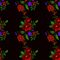 seamless pattern small floral vector maroon background