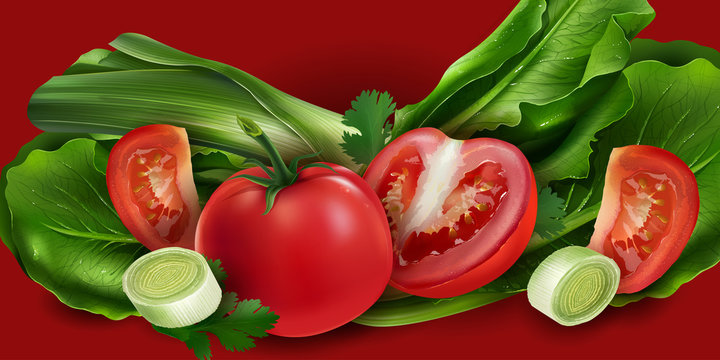 Tomatoes, onions and lettuce