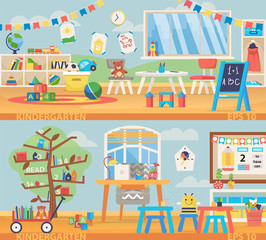 Back to school banner illustration. Kindergarten education interior. Learning and study place horizontal back banner.