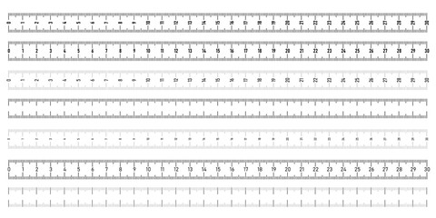 Set of both side horizontal rulers - lenght and size indicators distance units. Vector illustration.