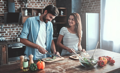 Romantic couple on kitchen