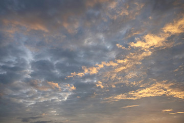 Dramatic cloudy and sunset in blue sky..