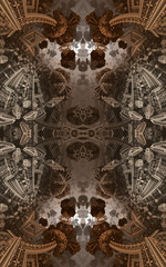 Abstract fantastic poster or background. Futuristic view from inside of the fractal. Architectural pattern. 3D