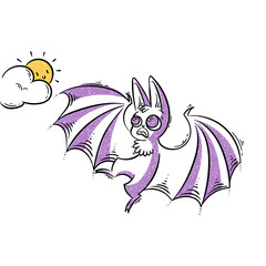 Cartoon bat screeching to the sun. Frightened animal