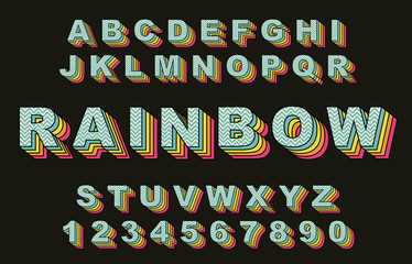 Rainbow Vintage Alphabet