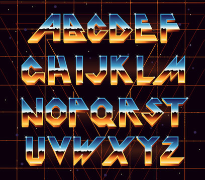 Alphabet 80 s retro font.