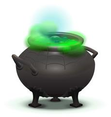 Big black cauldron cook green magic potion