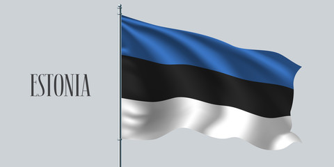 Estonia waving flag vector illustration