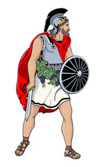 Roman warrior with sword. Colored vector illustration of an ancient Roman warrior with a sword and shield.
