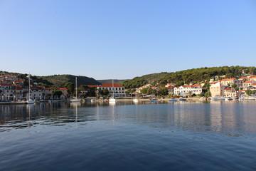 Beautiful small boats in the harbor of Postiral town Croatia, Brac island.