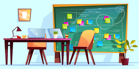 Kanban board at workplace vector illustration for agile scrum management and teamwork business planning. Cartoon computer at office table, meeting schedule and project plan memo notes