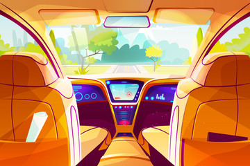 Car inside vector illustration of smart autonomous automobile Cartoon design of vehicle dashboard with GPS navigation and drive control system for future driverless transportation technology