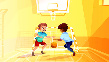 Boys playing basketball vector illustration of black Afro American kid with ball in school gymnasium. Little children in sport hall interior cartoon background